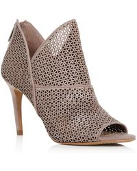 Vince Camuto Women's Vatena Perforated Nubuck Leather High Heel Booties - Brown
