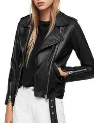 AllSaints Balfern Leather Biker Jacket - Black