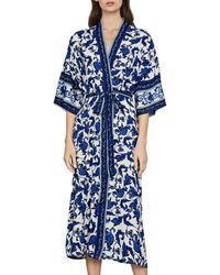 BCBGMAXAZRIA Floral Print Long Wrap Jacket - Blue