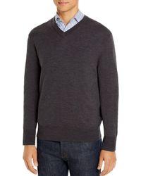 Brooks Brothers Merino Wool V - Neck Sweater - Gray