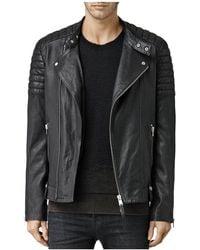 AllSaints - Jasper Leather Slim Fit Biker Jacket - Lyst