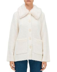 Kate Spade Faux - Fur Trimmed Cardigan - White