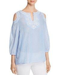 Avec - Embroidered Stripe-print Cold-shoulder Top - Lyst