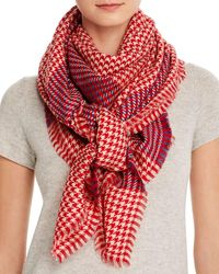 Jane Carr Woven Wool Scarf - Red