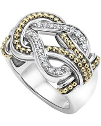 Lagos - Sterling Silver And 18k Gold Newport Diamond Ring - Lyst