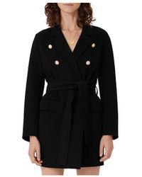 Maje Gabie Belted Wool Blend Coat - Black