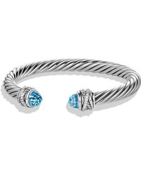 David Yurman - Crossover Bracelet With Diamonds And Blue Topaz In Silver - Lyst