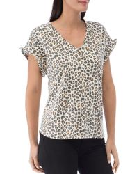 B Collection By Bobeau Adrianna Animal Print French Terry Top - Multicolour