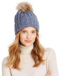 Inverni Coyote - Fur Pom - Pom Beanie - Blue
