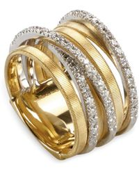 Marco Bicego - 18k Yellow Gold Goa Seven Row Ring With Diamonds - Lyst