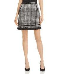 Karl Lagerfeld Faux Leather Trim Tweed Mini Skirt - Black