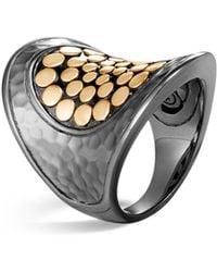 John Hardy Blackened Sterling Silver & 18k Bonded Gold Dot Saddle Ring - Metallic