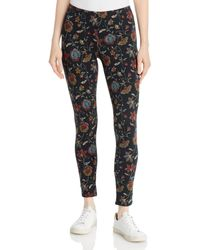 Johnny Was Floral Embroidery Print Leggings - Black
