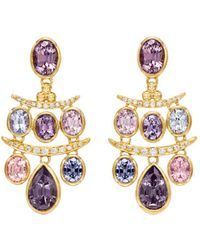 Temple St. Clair 18k Yellow Gold Seta Diamond & Spinel Small Fringe Earrings - Metallic
