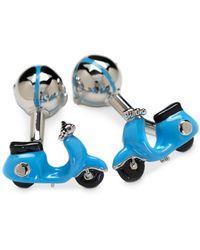 Babette Wasserman Retro Vespa & Helmet Cufflinks - Blue