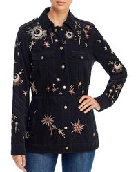 Johnny Was Teleseto Baby Celestial Embroidered Drawstring Military Jacket - Black