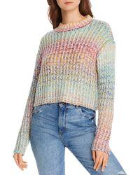 Aqua Rainbow Marled Cropped Sweater - Multicolor