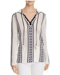 Tory Burch - Ria Open-knit Hooded Tunic Top - Lyst