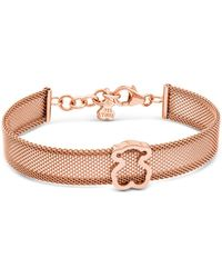 Tous 18k Rose Gold - Plated Sterling Silver Bear Mesh Bracelet - Metallic