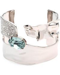 Alexis Bittar - Crystal Encrusted Crumpled Solitaire Cuff Bracelet - Lyst