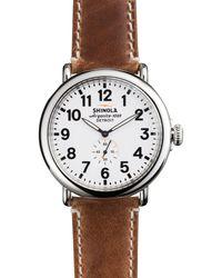 Shinola - The Runwell Brown Strap Watch - Lyst