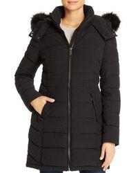 Calvin Klein Faux Fur Trim Puffer Coat - Black