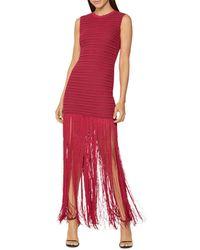 Hervé Léger Herve Leger Sheer Striped Fringed - Skirt Gown - Red