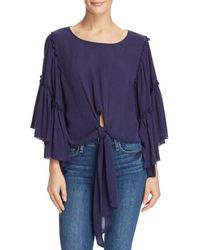 Band Of Gypsies - Bell-sleeve Tie-front Top - Lyst