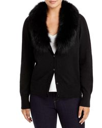 C By Bloomingdale's Fox Fur Collar Cashmere Cardigan - Black