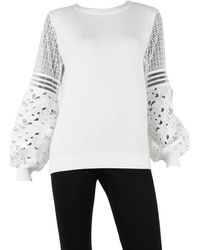 Sioni Lace Sleeve Jumper - White