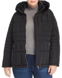 Calvin Klein Faux - Fur Trim Puffer Coat - Black