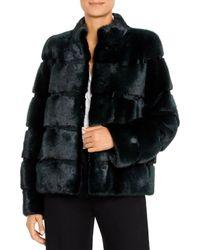 Maximilian Mink Fur Short Coat - Black