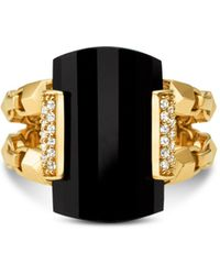 Michael Kors Sterling Silver Pavé & Stone Ring - Black