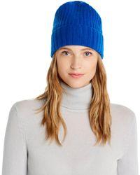 Aqua Cashmere Rib - Knit Cashmere Beanie - Blue