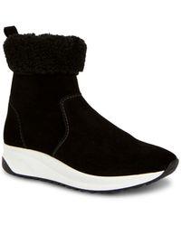 Aquatalia Bev Shearling Cuff Waterproof Suede Trainer Boots - Black