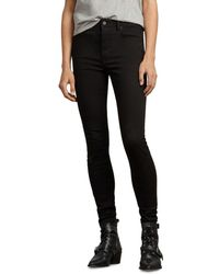 AllSaints - Stilt High-rise Skinny Jeans In Jet Black - Lyst