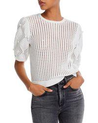 Aqua Mesh - Knit Popcorn - Sleeve Sweater - White