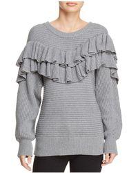 d.RA - Merriam Ribbed-knit Ruffled Sweater - Lyst