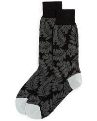 Bloomingdale's Cotton - Blend Tonal Tropical Leaf Crew Socks - Black