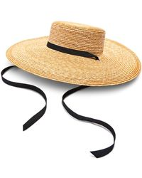 Aqua Wide Straw Boater Hat - Natural