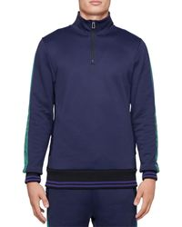PS by Paul Smith Half Zip Mock Neck Sweatshirt - Blue