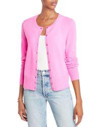 Aqua Cashmere Crewneck Cashmere Cardigan - Pink