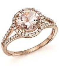 Bloomingdale's - Morganite And Diamond Halo Ring In 14k Rose Gold - Lyst