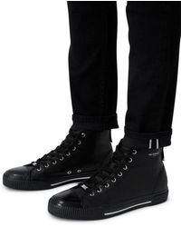 The Kooples Men's Leather High Top Trainers - Black
