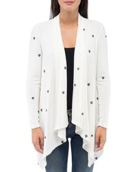 B Collection By Bobeau Amie Cozy Printed Open Waterfall Cardigan - White