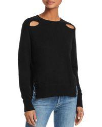 Aqua - Cutout High/low Cashmere Sweater - Lyst