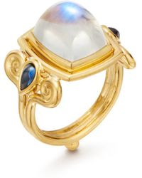 Temple St. Clair - 18k Yellow Gold Blue Moonstone & Sapphire Classic Arabesque Ring - Lyst
