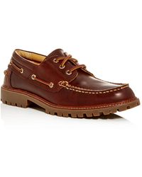 Men's Authentic Original Lug Three Eye Lace Up Boat Shoes Brown