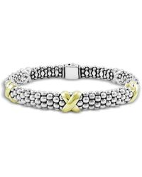 Lagos - 18k Yellow Gold And Sterling Silver Caviar Bracelet - Lyst