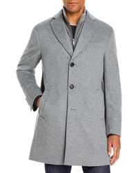 Cardinal Of Canada Wool Regular Fit Topcoat With Bib - Grey